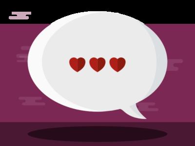 Speech bubble with love hearts inside